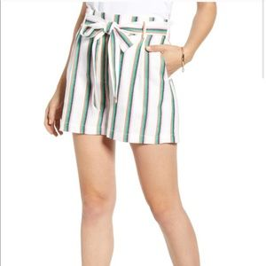 NWOT Halogen striped paper bag shorts